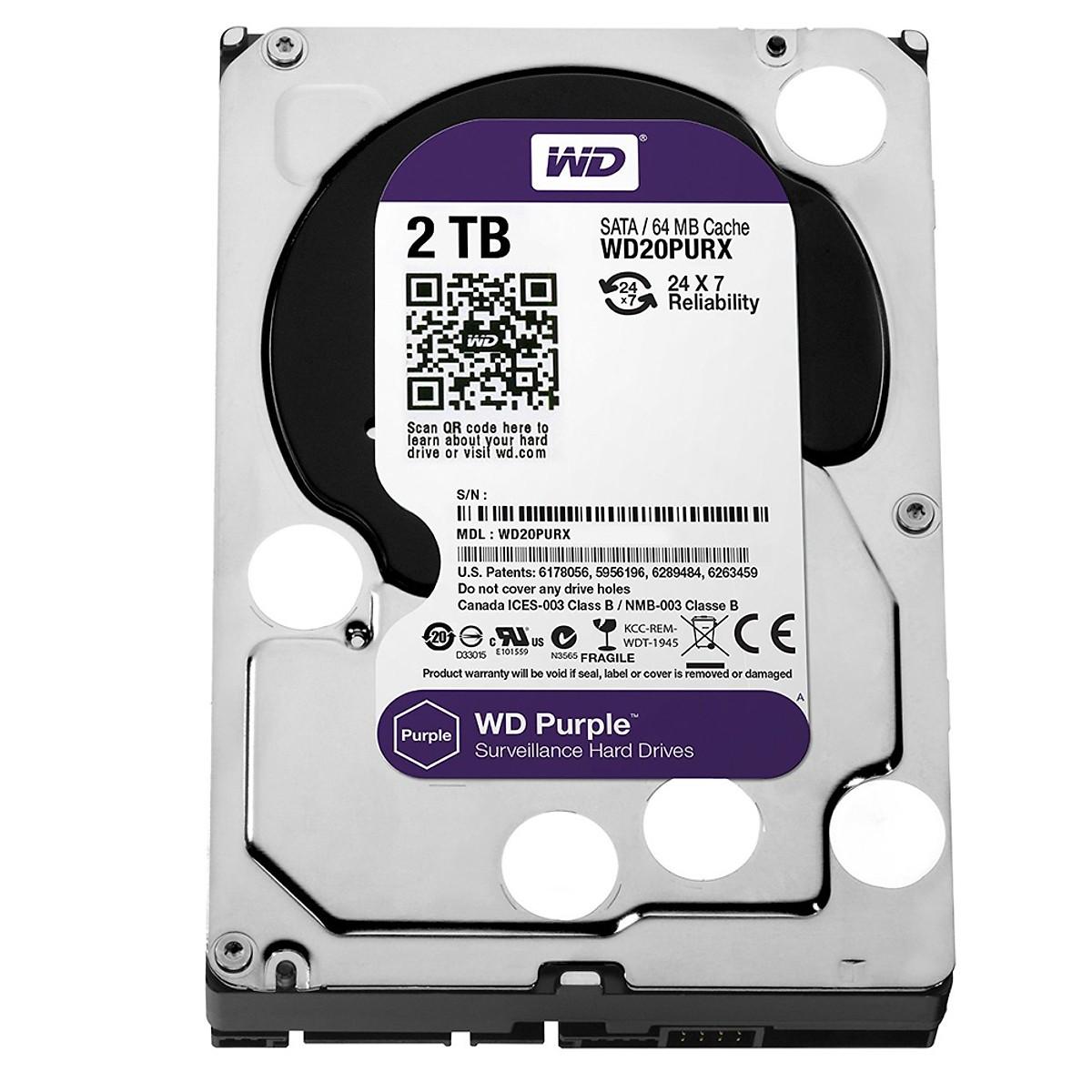 Ổ Cứng Camera WD Purple 2TB.64MB.3.5 IntelliPower - WD20PURZ - Hàng Chính Hãng