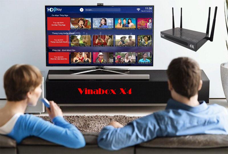 VINABOX X4 - 4 RÂU WIFI MẠNH MẼ - ÂM THANH DOLBY - TÌM KIẾM GIỌNG NÓI